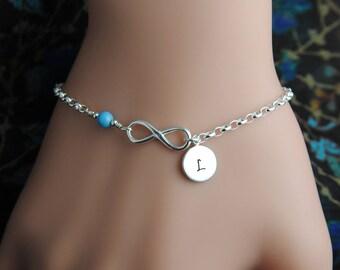 Infinity bracelet, sister bracelet, friendship gifts, personalized bracelet, infinity jewelry, initial bracelet, sterling silver bracelet