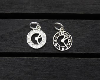 Sterling Silver Clock Charm,Sterling Silver Clock Pendant,Sterling Silver timepiece charm