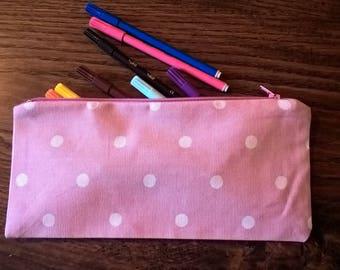 Pink spotty pencil case, crochet hook case,