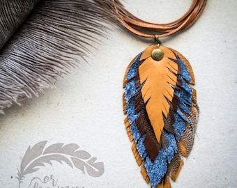 Boho style Leather Festival Necklace, Brown Leather and Jeans Fabric Necklace, Leather Feather Necklace,  Bohemian Jewelry, Festival Jewelry