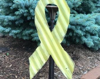 yellow awareness ribbon, tin yellow awareness ribbon,  support our troops, awareness ribbon, rusty tin garden decor, tin yellow ribbon