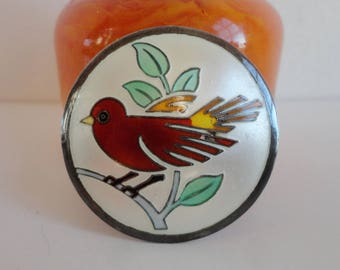 60s Vintage Enamel Brooch With Red Bird // Sterling Silver // BMJ // Made In Denmark