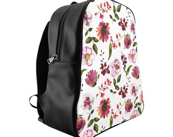 School Backpack, Custom Printed: Floral Design Blush and Coral