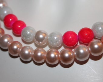 Pink Jewelry, Pink Necklace, Pink Pearl Necklace, Pink Pearl Jewelry, Pink Beads Jewelry, Pearl beaded Necklace, Pink Jewelry, Pink Necklace