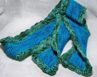 Ach so dass weiche Superwash Merino türkisblau und gemischten grünen benutzerdefinierte Schal gehäkelten Hand gefärbt