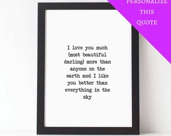 Personalized Quote, VIRGINIA WOOLF, I See You Everywhere, Love Quote, Love Poem, Poetry, PRINTABLE, Custom, Wedding Gift, First Anniversary
