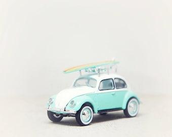 Nursery Decor, Surf Board, VW Bug, Toy Photograph, Vintage Car Art, Wall Art Print, Kids Room, Boys Room, Office Decor, Whimsical Home Decor