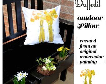 Outdoor Pillow Cover with Pillow Insert, Outdoor Pillow Cover, Daffodils, welcome Spring