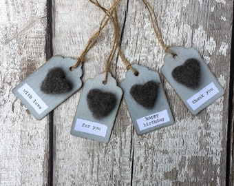 4 hand made rustic inspired gift tags with wool felted hearts, gift wrap, needle felted tags,