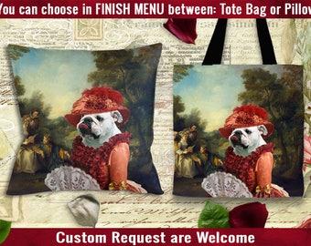 English Bulldog Pillow or Tote Bag/Bulldog Art/Bulldog Portrait/Dog Tote Bag/Dog Pillow/Dog Art/Custom Dog Portrait