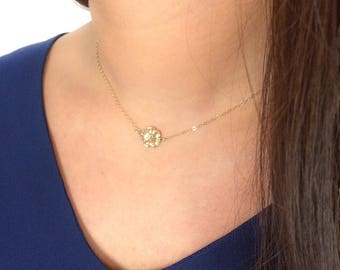 Dainty flower choker, Tiny Hibiscus necklace, Flower child necklace, 14k gold filled, Layering necklace, Choker, Unique gift, Gift