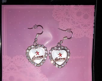 Houston Astros Rhinestone Earrings (White)