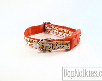 """Black or White Candy Corn Halloween Dog Collar - 3/4"""" (19mm) - Choice of color, style and size - Martingale Dog Collars or Quick Release"""
