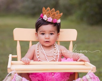 First Birthday Crown - Small Crown - Pink and White Flowers - Newborn Gold Crown - Photo Prop - First Birthday Cake Smash - Baby Gold Crown