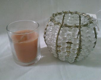 Vintage Beaded Votive Candle Holder with glass Insert