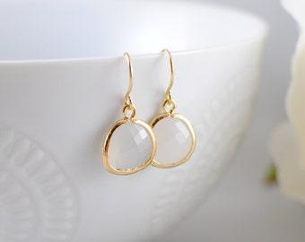 The Phoenix Anne Earrings - White Opal/Gold