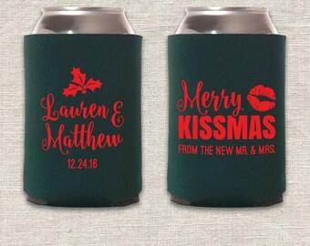 Merry Kissmas - Christmas Wedding Can Cooler