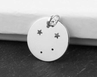 Sterling Silver Libra Constellation Pendant 18mm