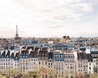 Paris Architecture Photography -  Eiffel Tower and Paris Rooftops, Cream and Grey, Neutral French Home Decor, Large Wall Art