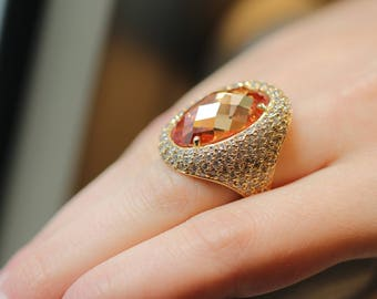 HANDMADE Gold Ring 14k With Citrine Stone And White Zircons, PREMIUM Collection, Anniversary Ring Gift, Luxury Collection, Free Shipping