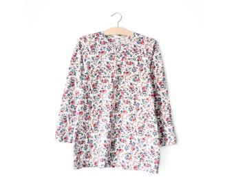 90s floral henley shirt | S/M