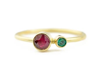 Ruby Emerald Ring, 14K Gold Ruby and Emerald Ring, Birthstone Ring, Gift for Her, July Birthstone, May Birthstone, Mother's Ring
