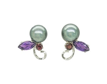 Silk Road Collection - China studs, Freshwater Pearl, Amethsyt and Rhodolite Garnet