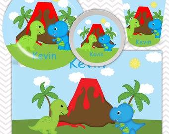 Dinosaur Plate Bowl Cup Placemat - Personalized Dinosaur Dinnerware for Kids - Custom  sc 1 st  Etsy & Dinosaur dinnerware | Etsy