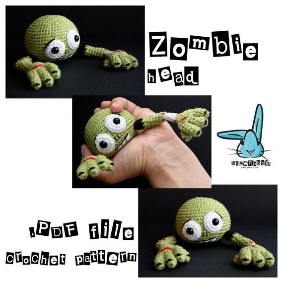 Zombie head amigurumi crochet pattern pdf file zombie for Table zombies pdf