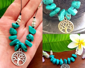 Genuine Turquoise Nugget Necklace Choker with Tree of Life. December Birthstone. Protection Stone Necklace.