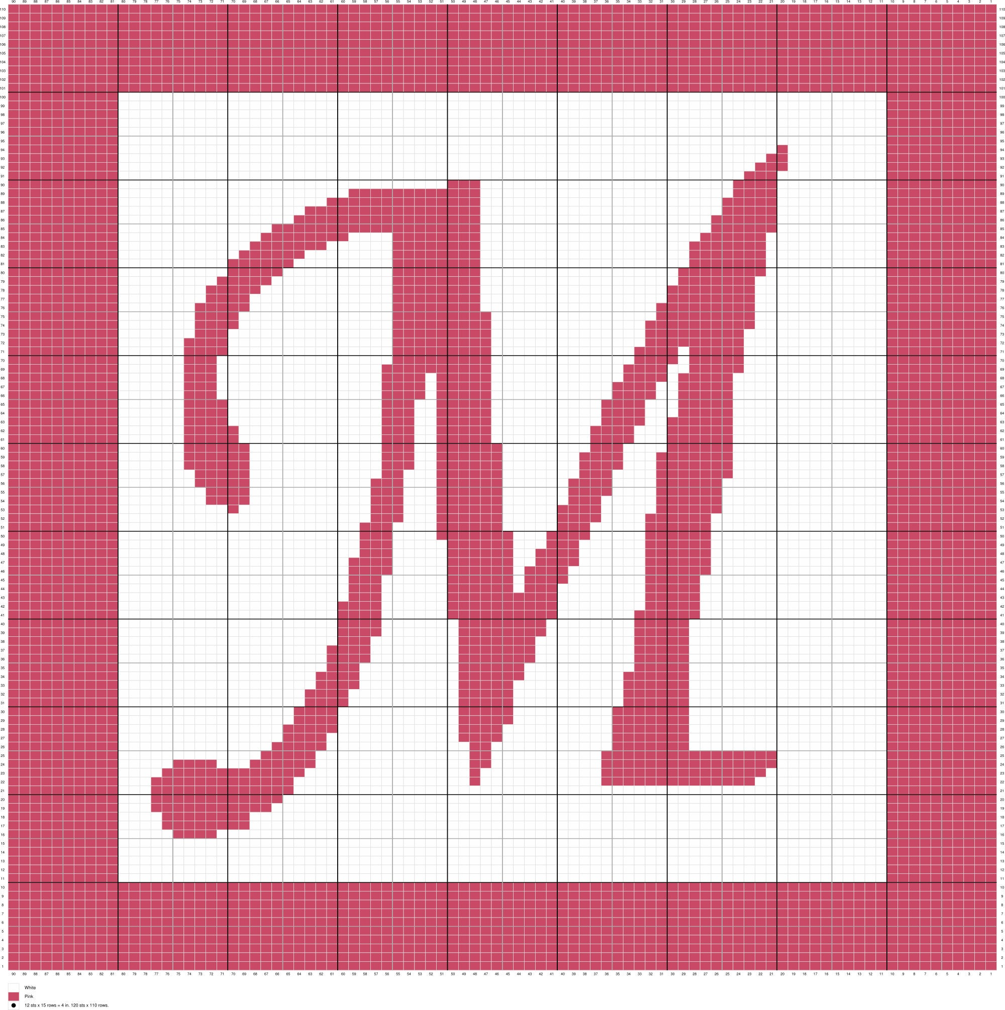 Monogram Letter M Crochet Afghan Pattern, Written and Graph Pattern ...