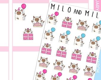 Birthday Cat Emoji  | Planner Stickers |