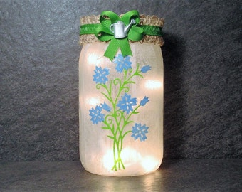 Blue Flower with Watering Can Mason Jar Light