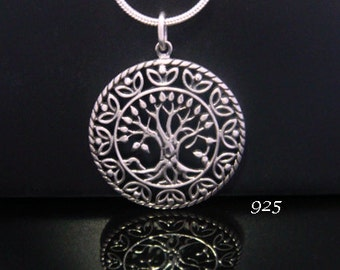 Tree of Life Necklace: Celtic Design Sterling Silver Tree of Life Necklace with 25mm 1 inch Convex Shape | Gifts for Women. Pendant 056