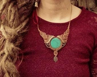 beautyful handmade turquoise necklace tribal gipsy bohemian jewelry