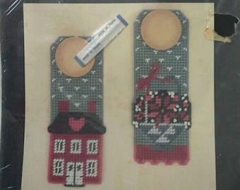 Gallery of Stitches Bucilla Plastic Canvas Set of 2 Country Door Knob Hangers