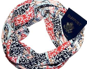 Secret Pocket Scarf - Tivoli - 35/70 inches - Hidden Pocket Travel Scarf - 100% Cotton Knit - 2nd Pocket Optional