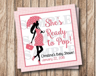Personalized Printable Ready To Pop Tags, Printable Baby Girl Shower Tags, Printable Baby Shower Tags, Ready to Pop Labels