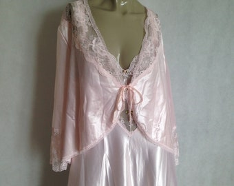 Pandora Lingerie by Chic capelet / peignor / apron, Cherry blossom pink satin with lace and ribbons - vintage Californian lingerie