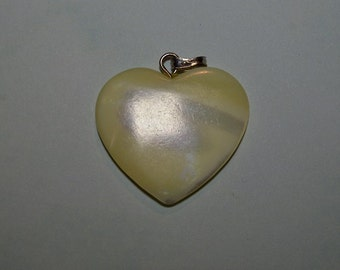Vintage Mother of Pearl Heart Pendant with Silver bail 5 pc Lot(1060291A)