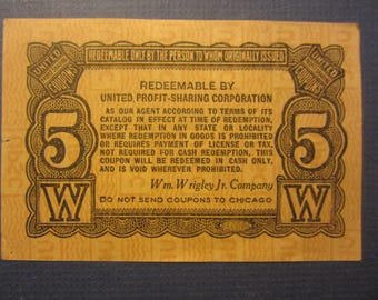 Wrigley's Profit Sharing Coupon - Great for Decoupage