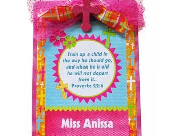 Christian Teacher Clipboard Personalized Hot Pink Glitter