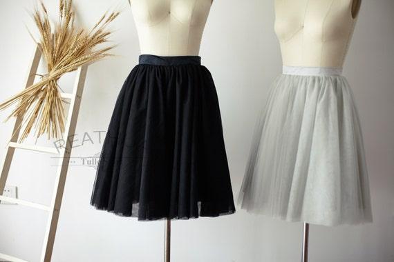 Light Gray Bridesmaid Dresses Knee Length Soft Tulle: Ivory/Black/Silver GrayTulle Skirt/Short Women Tulle