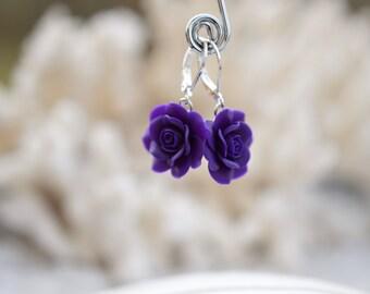Deep Purple Rose Earrings, Flower Earrings, Purple Bridesmaid Earrings, Purple Rose Jewelry