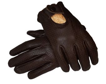Motorsports Genuine Leather perforated Driving gloves