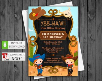 Printable invitation Cowboy party in PDF with Editable Texts, West Cowboy birthday Invitation, edit and print yourself!