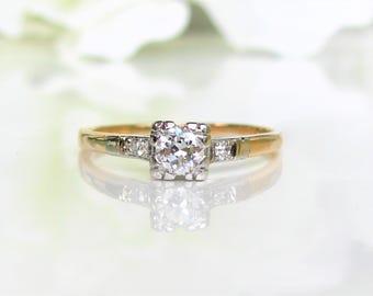 Art Deco Engagement Ring Petite 0.25ct Old European Cut Diamond  14K Two Tone Gold Diamond Wedding Ring Vintage Promise Ring