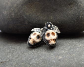 White Howlite Sugar Skull with Sterling Silver Earring Stud