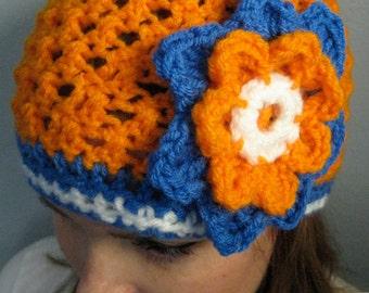 Florida Gators Football Beanie, Crochet football hat, Football team colors, Womens football hat, Flower hat, Flower beanie (choose team)