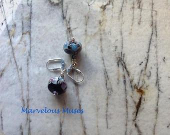 Patterned blue earrings